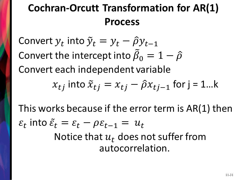 Cochran-Orcutt Transformation for AR(1) Process