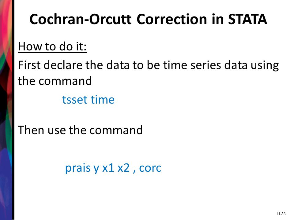 Cochran-Orcutt Correction in STATA