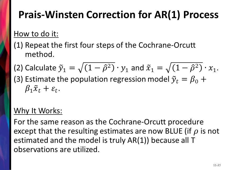 Prais-Winsten Correction for AR(1) Process