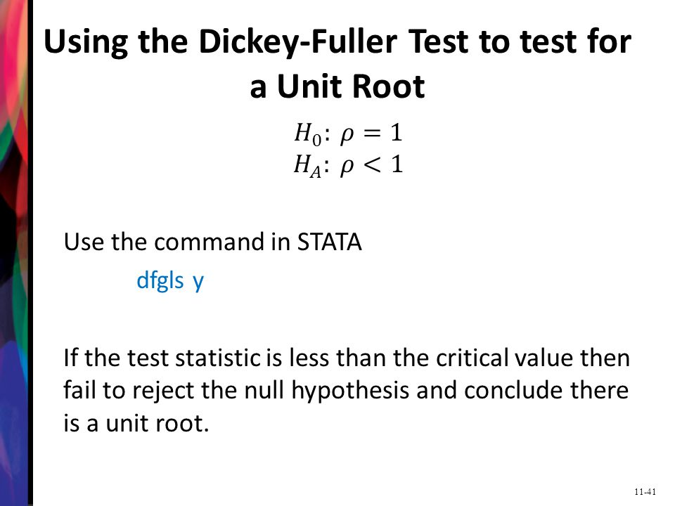 Using the Dickey-Fuller Test to test for a Unit Root