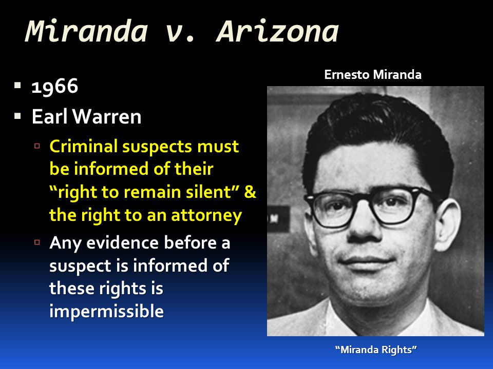 miranda v Miranda v arizona mr chief justice warren delivered the opinion of the court the cases before us raise questions which go to the roots of our concepts of american criminal.