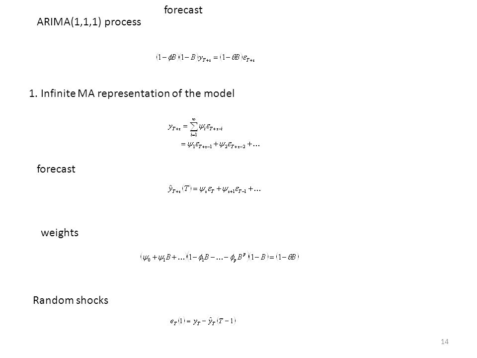 forecast ARIMA(1,1,1) process. 1. Infinite MA representation of the model.