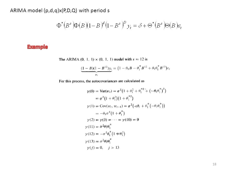 ARIMA model (p,d,q)x(P,D,Q) with period s