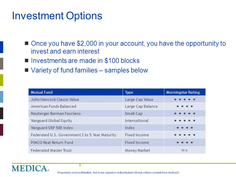 Investment Options Once you have $2,000 in your account, you have the opportunity to invest and earn interest.