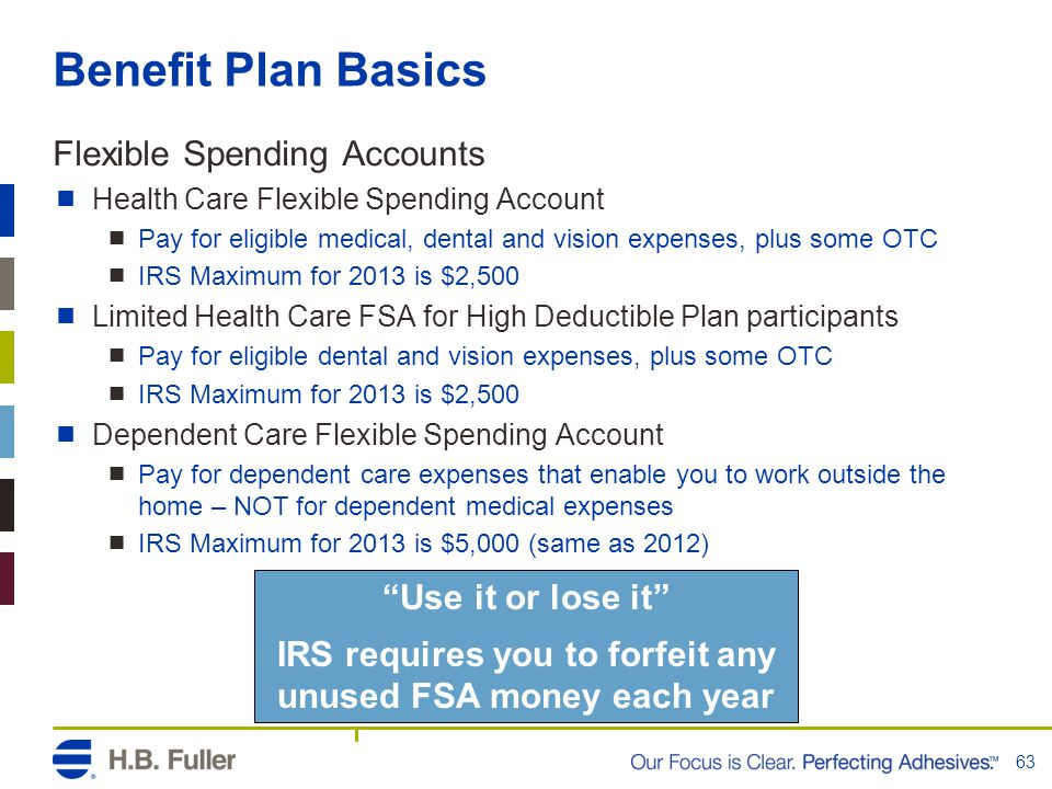 IRS requires you to forfeit any unused FSA money each year