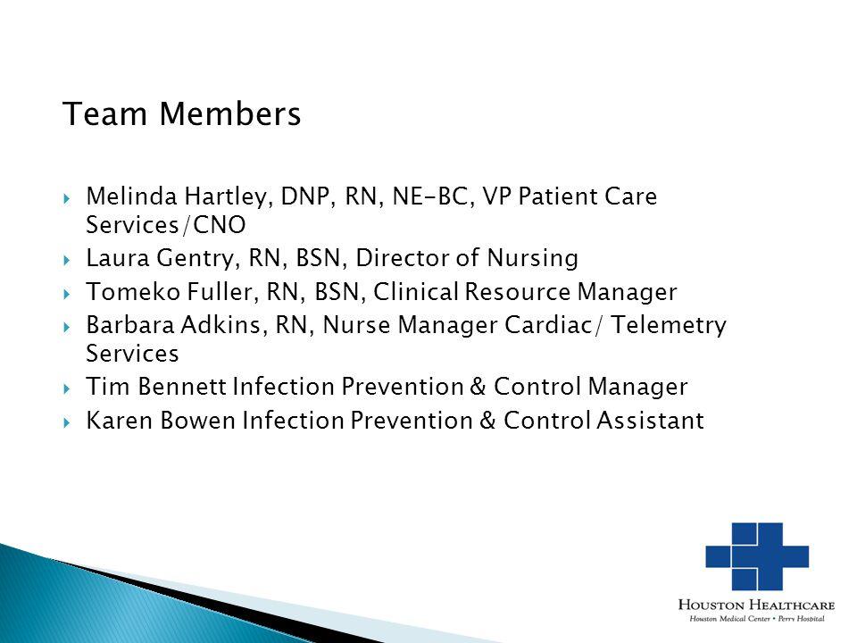 Team Members 1. Team Members. Melinda Hartley, DNP, RN, NE-BC, VP Patient Care Services/CNO. Laura Gentry, RN, BSN, Director of Nursing.