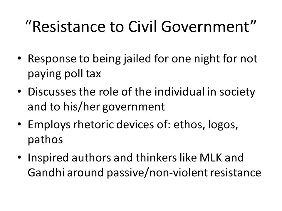 Resistance to Civil Government