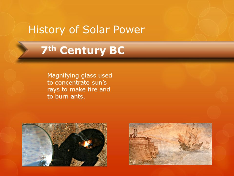 7th Century BC 2nd Century BC 1882 2012 1883 History of Solar Power