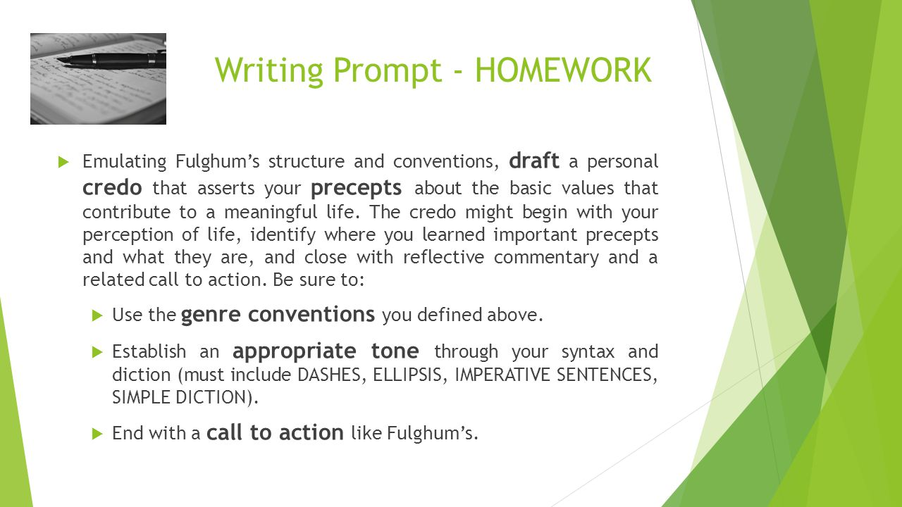 Writing Prompt - HOMEWORK