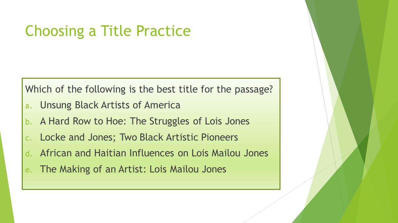 Choosing a Title Practice