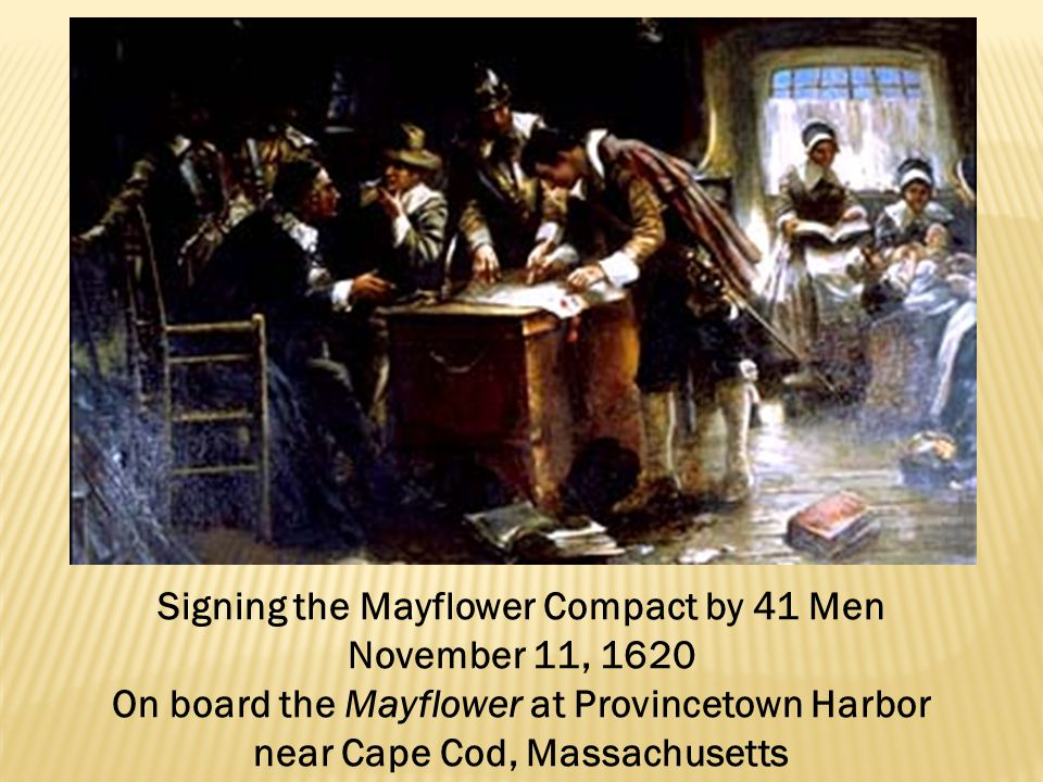 Signing the Mayflower Compact by 41 Men November 11, 1620
