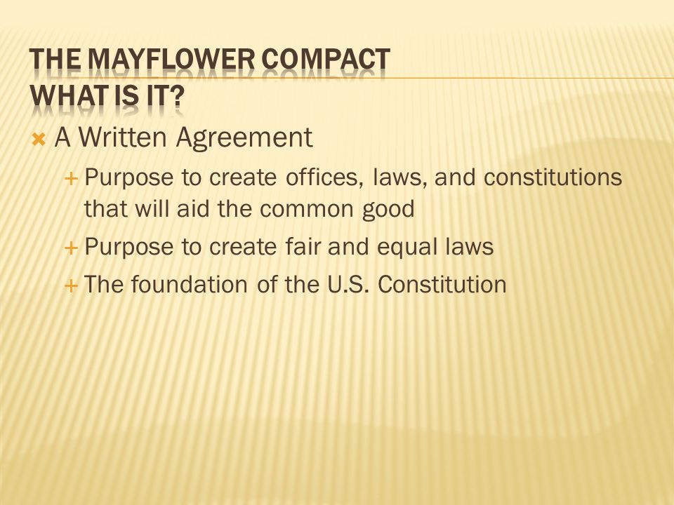 The Mayflower Compact What is it