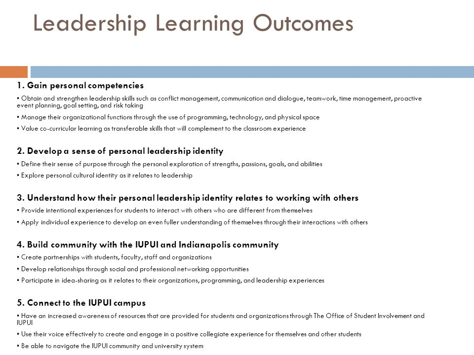 Leadership Learning Outcomes