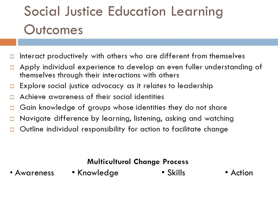 Social Justice Education Learning Outcomes