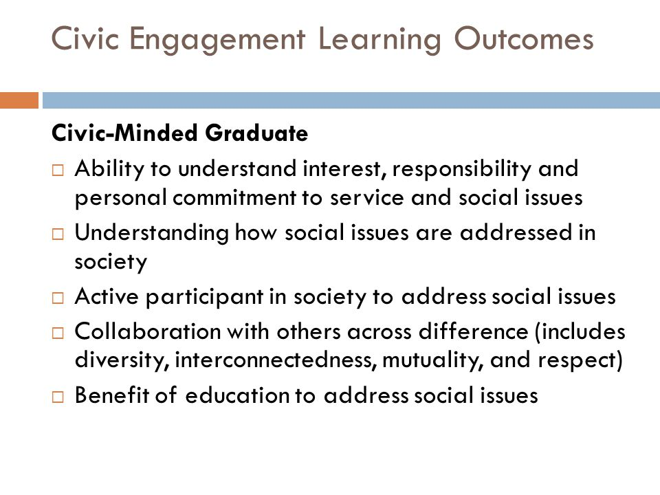 Civic Engagement Learning Outcomes
