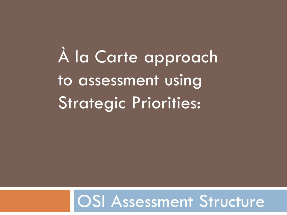 OSI Assessment Structure