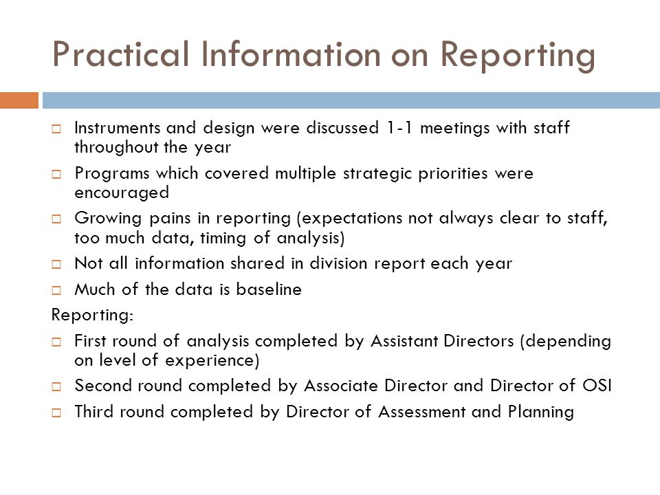 Practical Information on Reporting