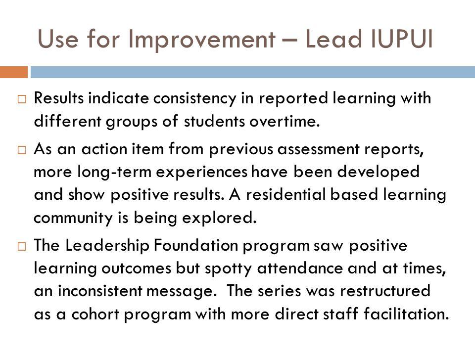 Use for Improvement – Lead IUPUI