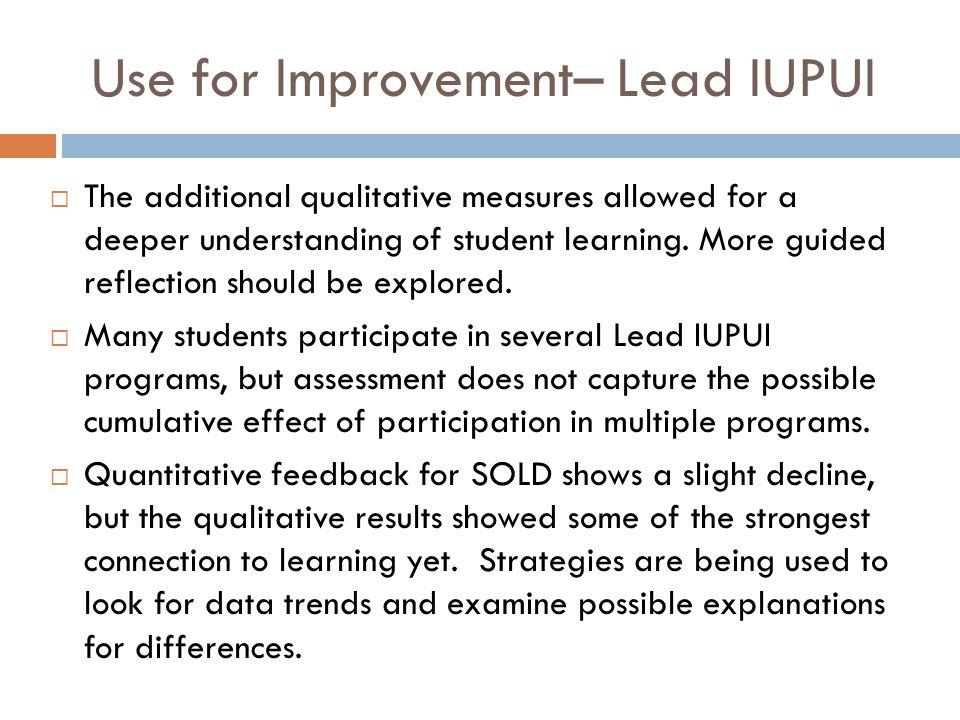 Use for Improvement– Lead IUPUI