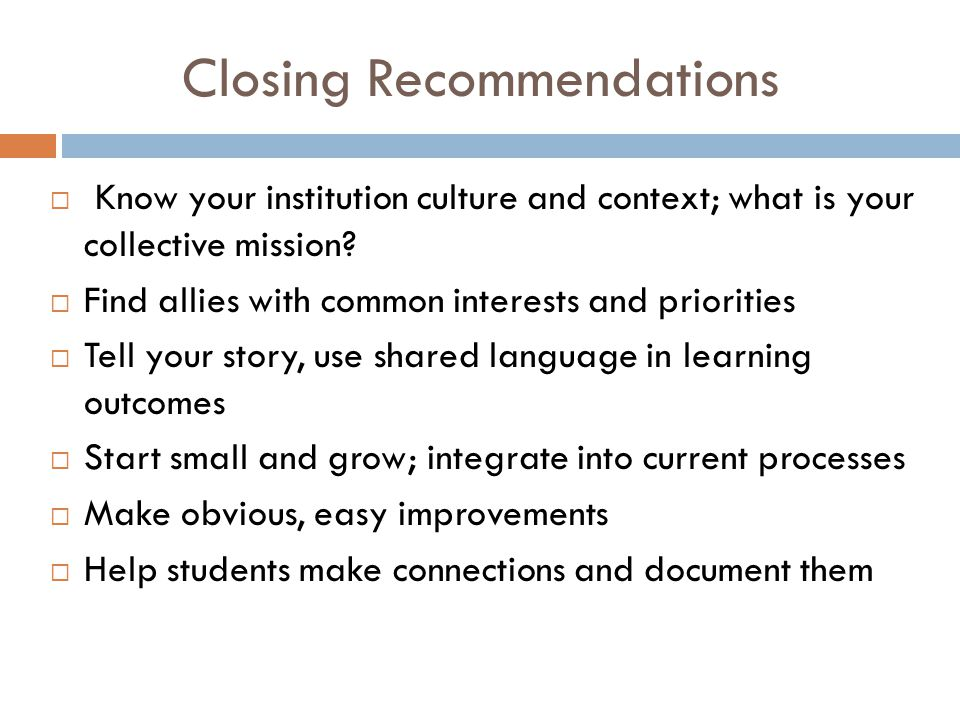 Closing Recommendations