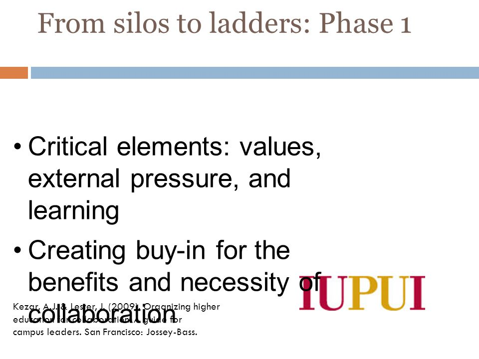 From silos to ladders: Phase 1