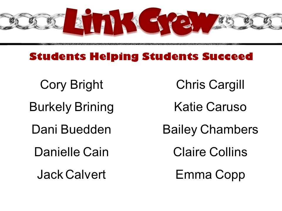 Cory Bright Chris Cargill. Burkely Brining. Katie Caruso. Dani Buedden. Bailey Chambers. Danielle Cain.