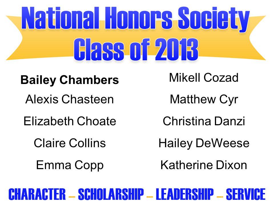 Bailey Chambers Mikell Cozad. Alexis Chasteen. Matthew Cyr. Elizabeth Choate. Christina Danzi. Claire Collins.