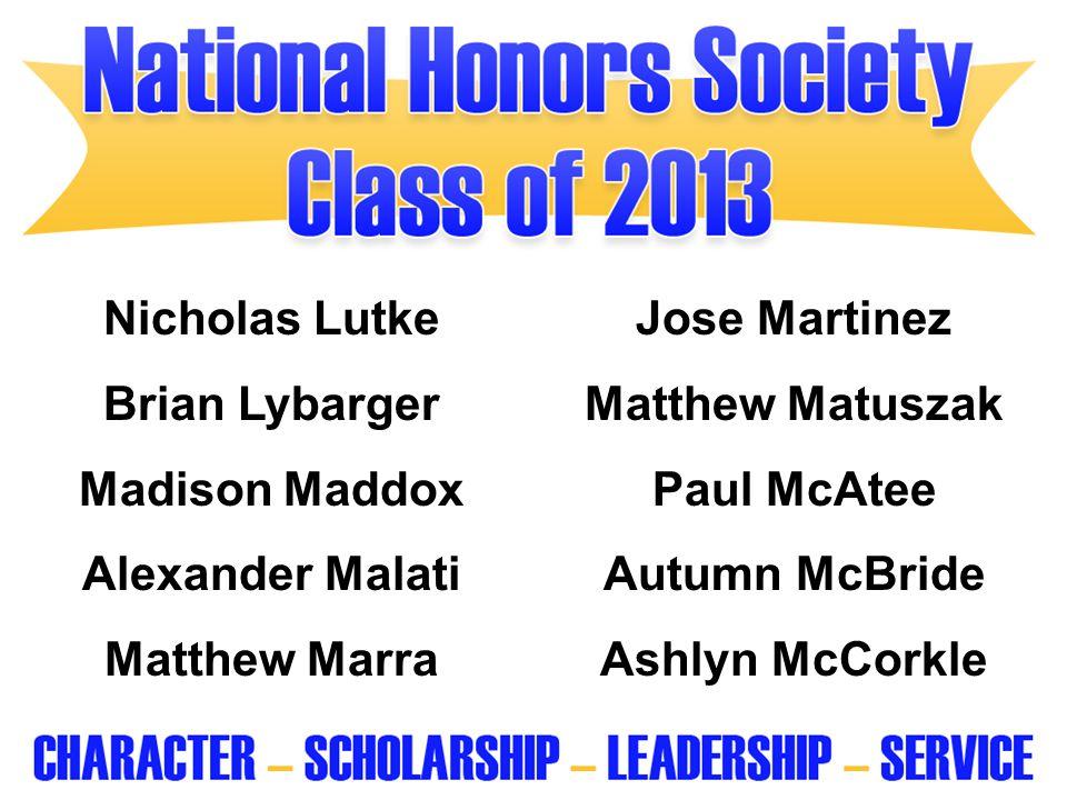 Nicholas Lutke Jose Martinez. Brian Lybarger. Matthew Matuszak. Madison Maddox. Paul McAtee. Alexander Malati.