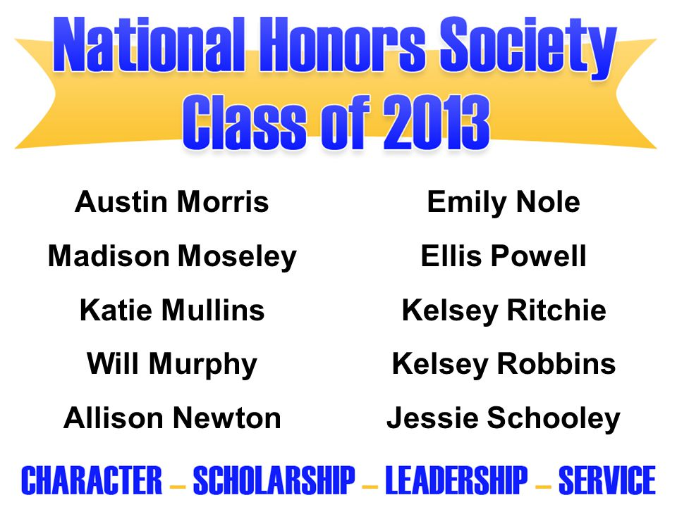 Austin Morris Emily Nole. Madison Moseley. Ellis Powell. Katie Mullins. Kelsey Ritchie. Will Murphy.