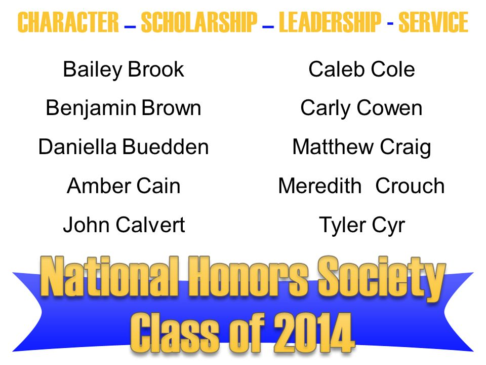 Bailey Brook Caleb Cole. Benjamin Brown. Carly Cowen. Daniella Buedden. Matthew Craig. Amber Cain.