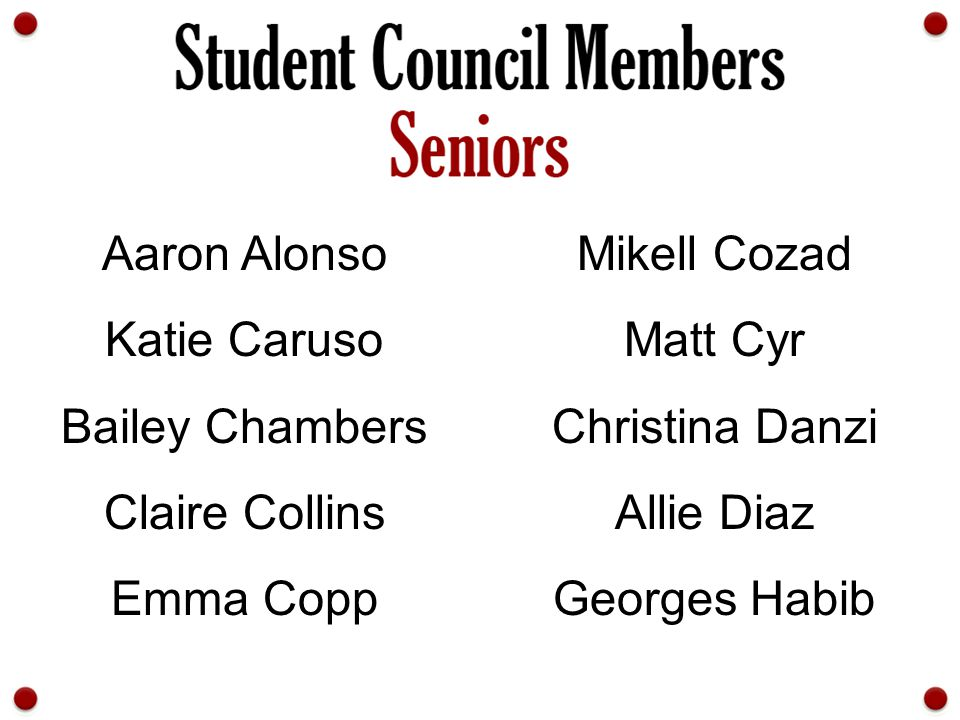 Aaron Alonso Mikell Cozad. Katie Caruso. Matt Cyr. Bailey Chambers. Christina Danzi. Claire Collins.