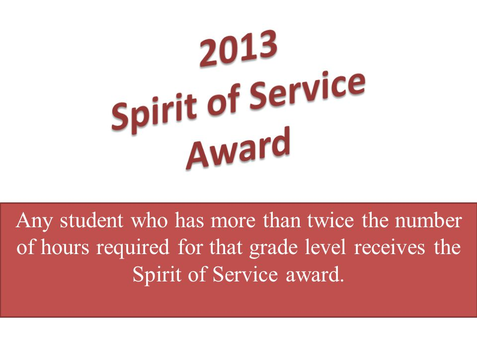 2013 Spirit of Service Award