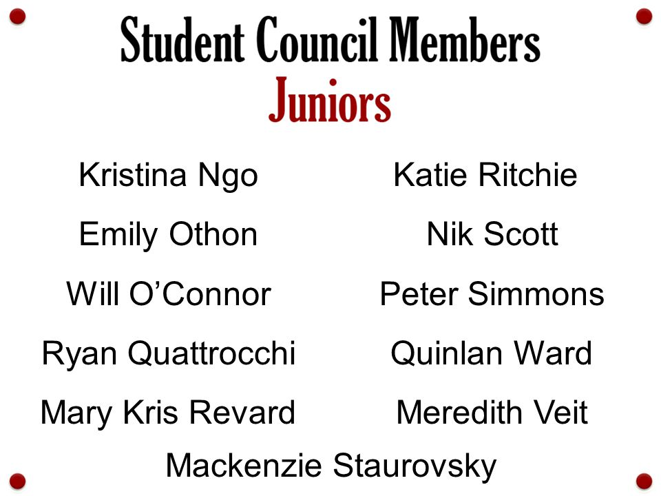 Kristina Ngo Katie Ritchie. Emily Othon. Nik Scott. Will O'Connor. Peter Simmons. Ryan Quattrocchi.