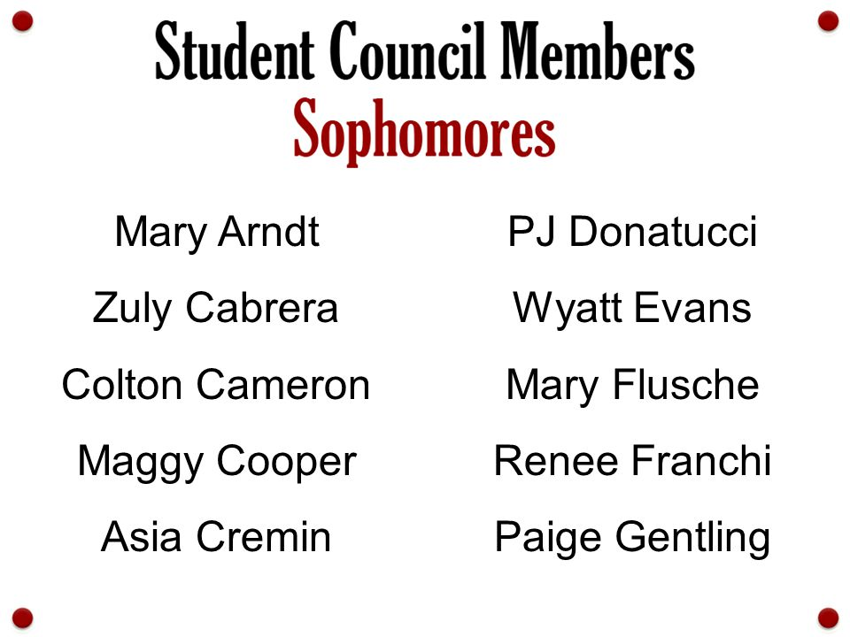 Mary Arndt PJ Donatucci. Zuly Cabrera. Wyatt Evans. Colton Cameron. Mary Flusche. Maggy Cooper.