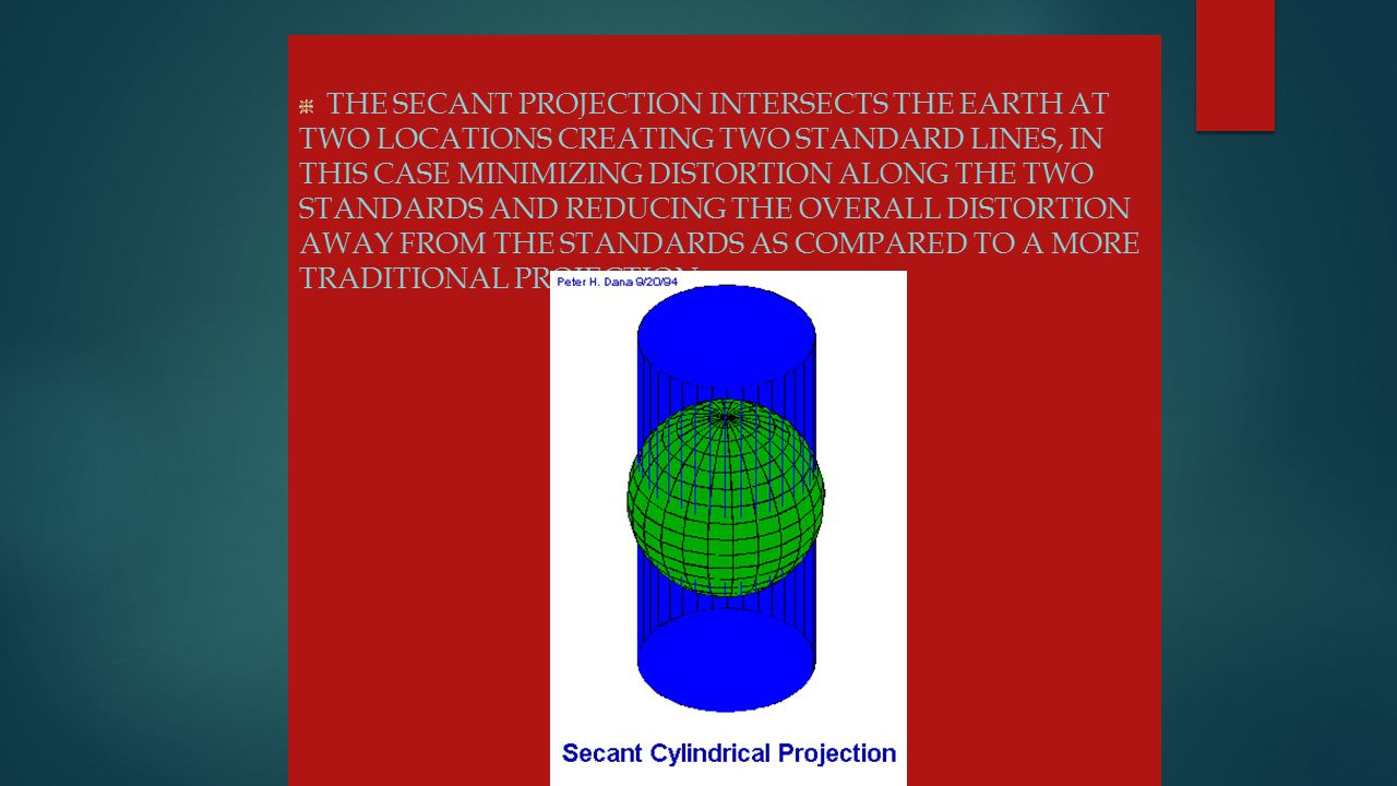 The secant projection intersects the Earth at two locations creating two standard lines, in this case minimizing distortion along the two standards and reducing the overall distortion away from the standards as compared to a more traditional projection.