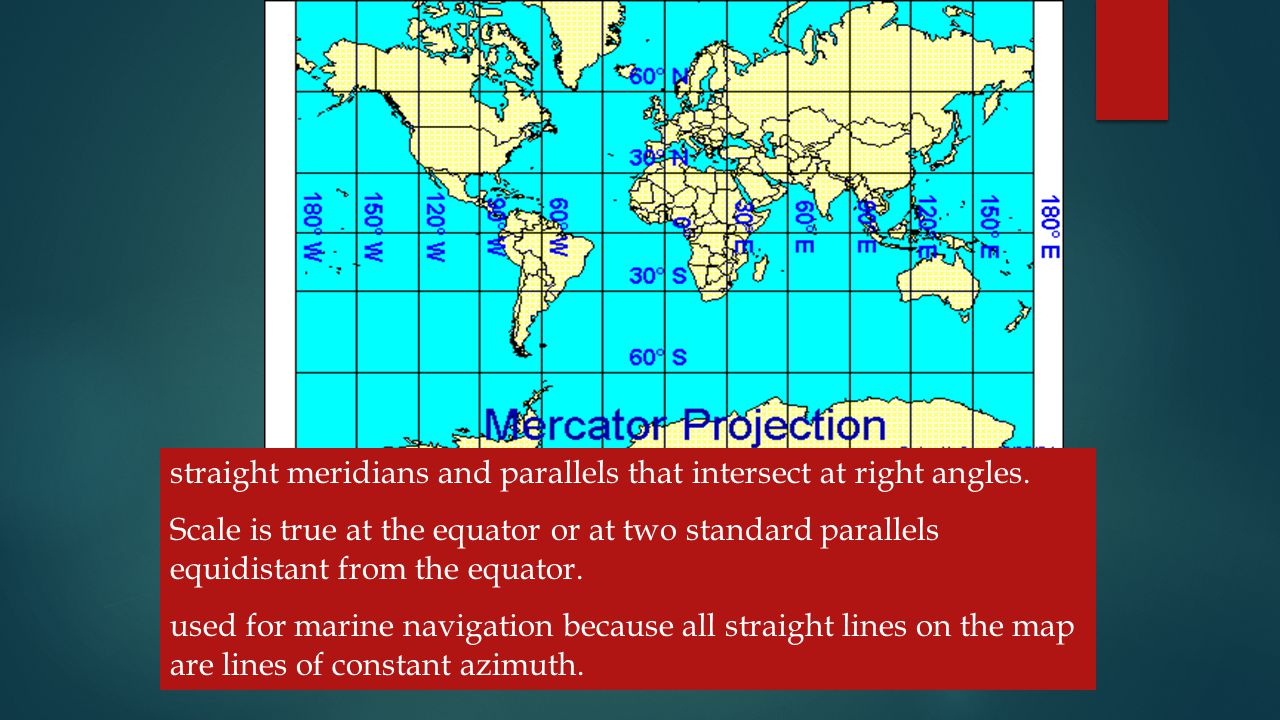 straight meridians and parallels that intersect at right angles.