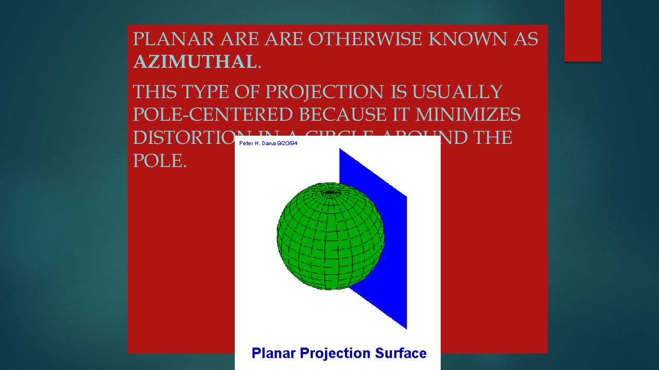 Planar are are otherwise known as azimuthal.