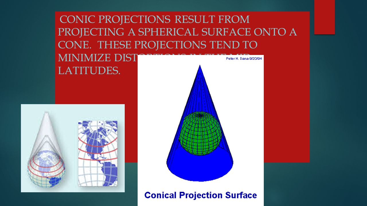 Conic Projections result from projecting a spherical surface onto a cone.