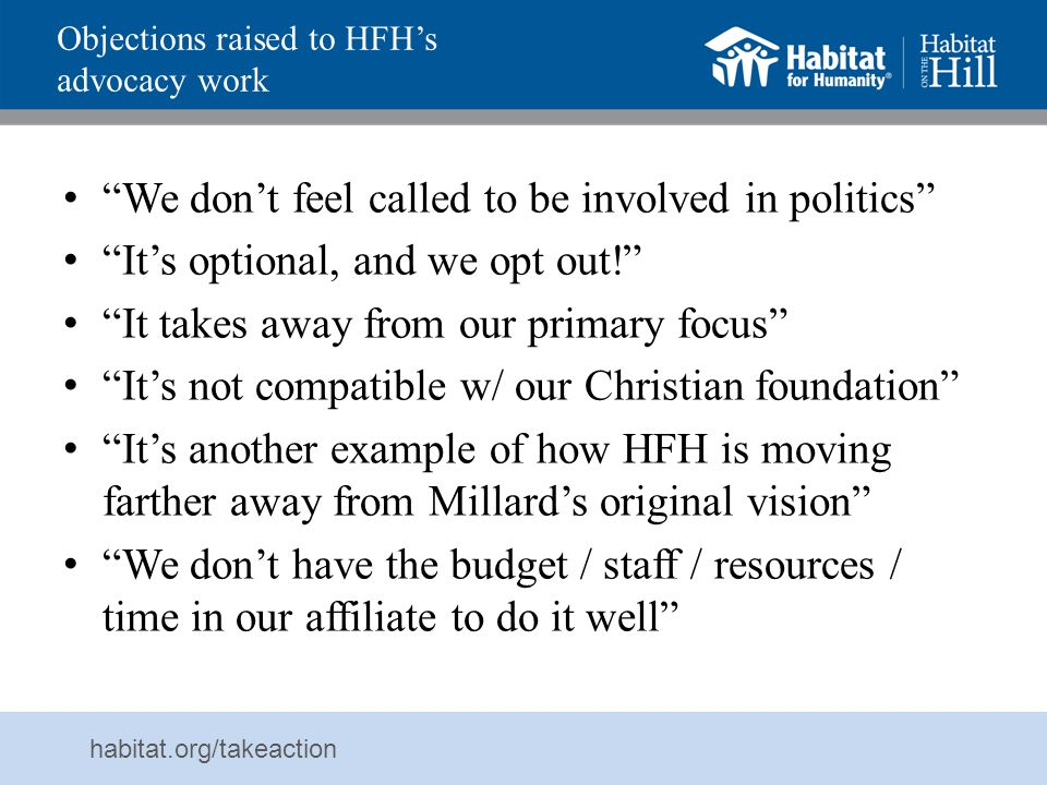 Objections raised to HFH's advocacy work