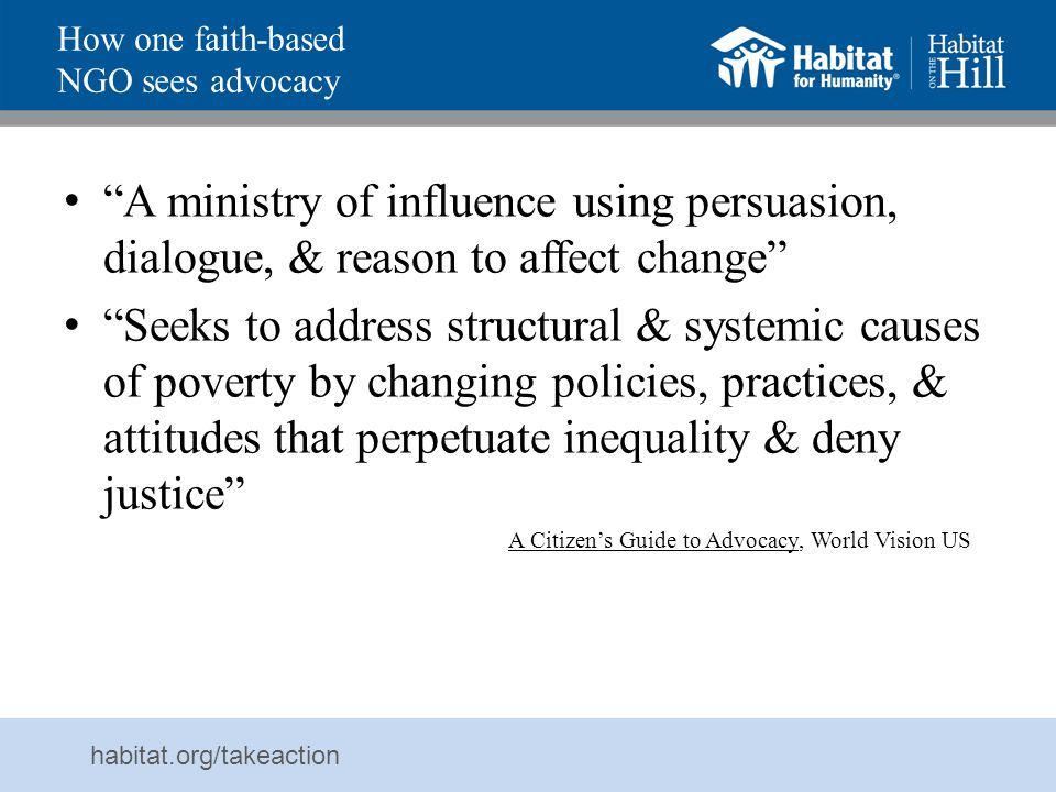 How one faith-based NGO sees advocacy