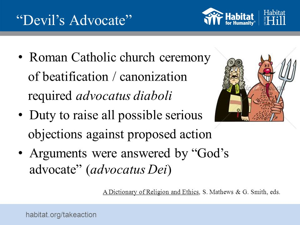 Devil's Advocate Roman Catholic church ceremony