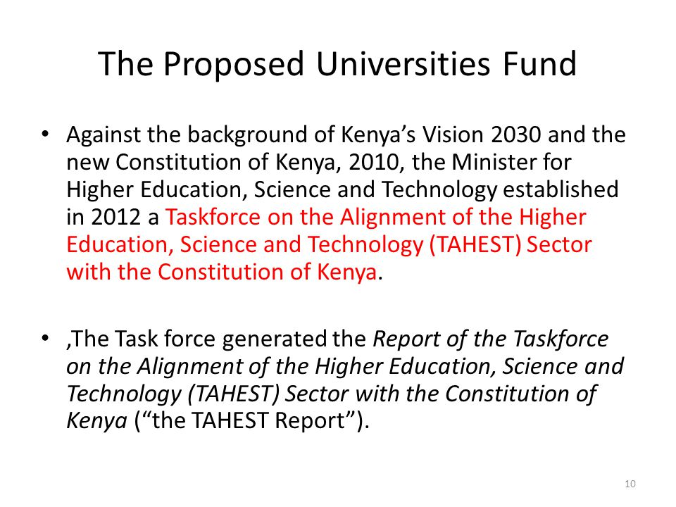 The Proposed Universities Fund