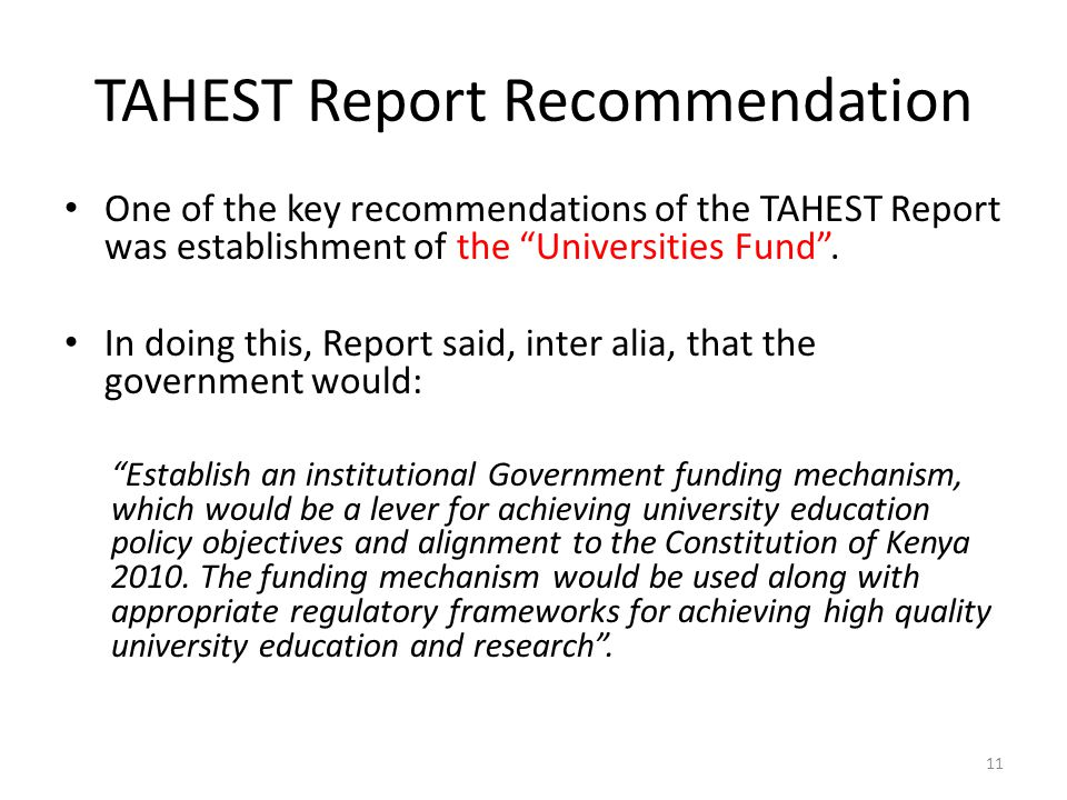 TAHEST Report Recommendation