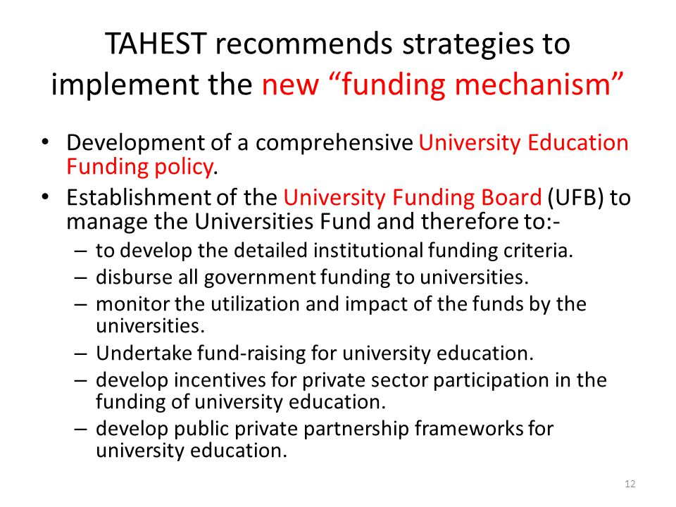 TAHEST recommends strategies to implement the new funding mechanism