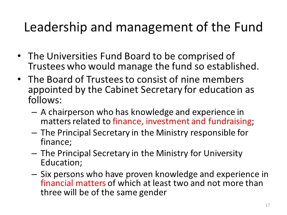 Leadership and management of the Fund
