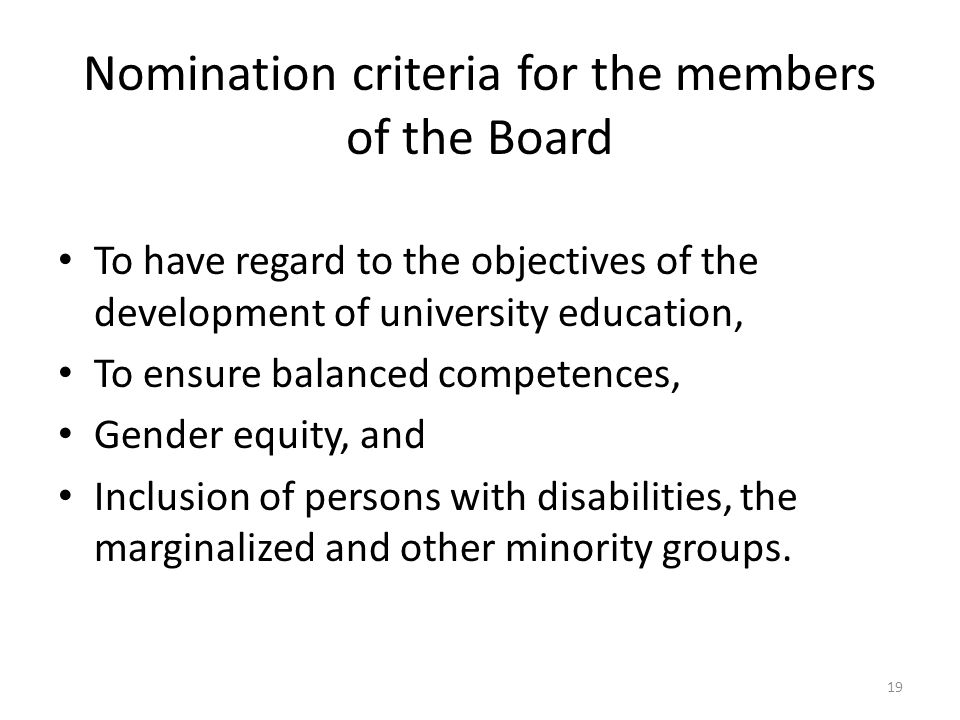 Nomination criteria for the members of the Board