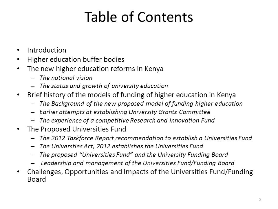 Table of Contents Introduction Higher education buffer bodies