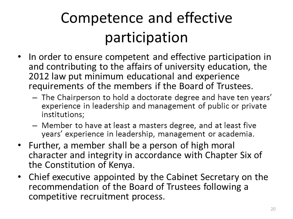 Competence and effective participation