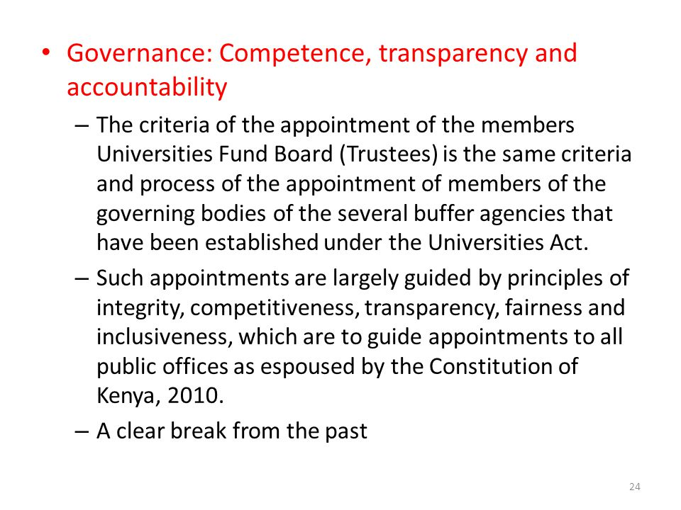 Governance: Competence, transparency and accountability