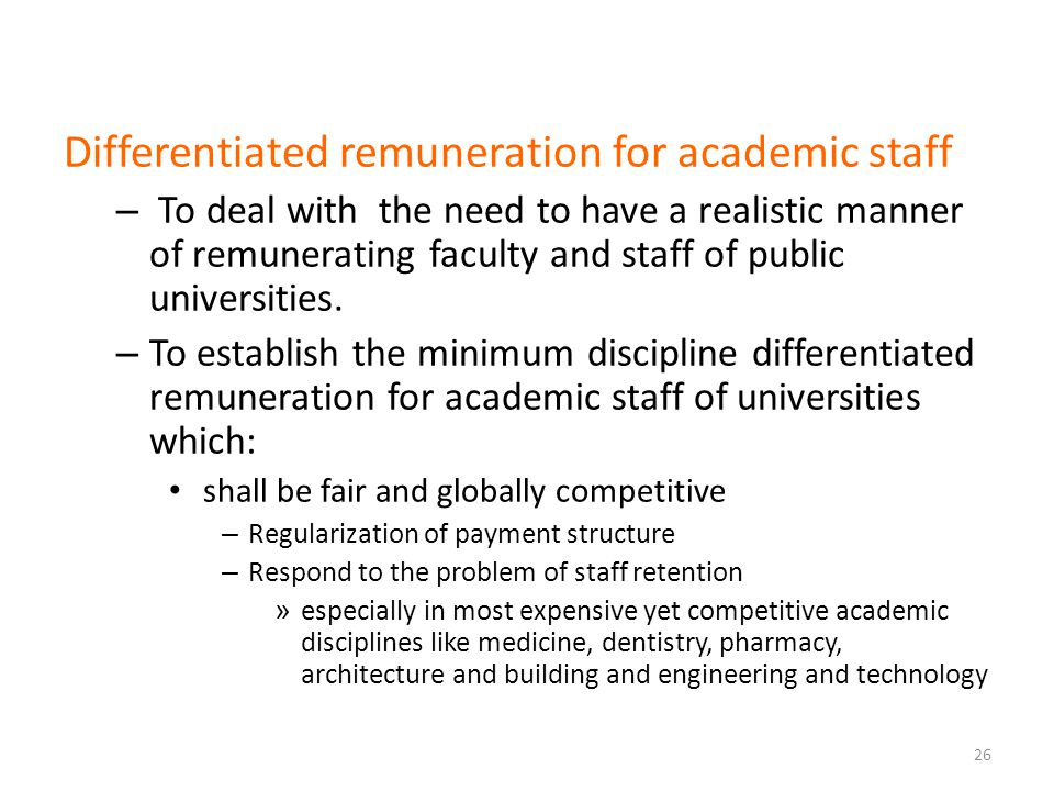 Differentiated remuneration for academic staff